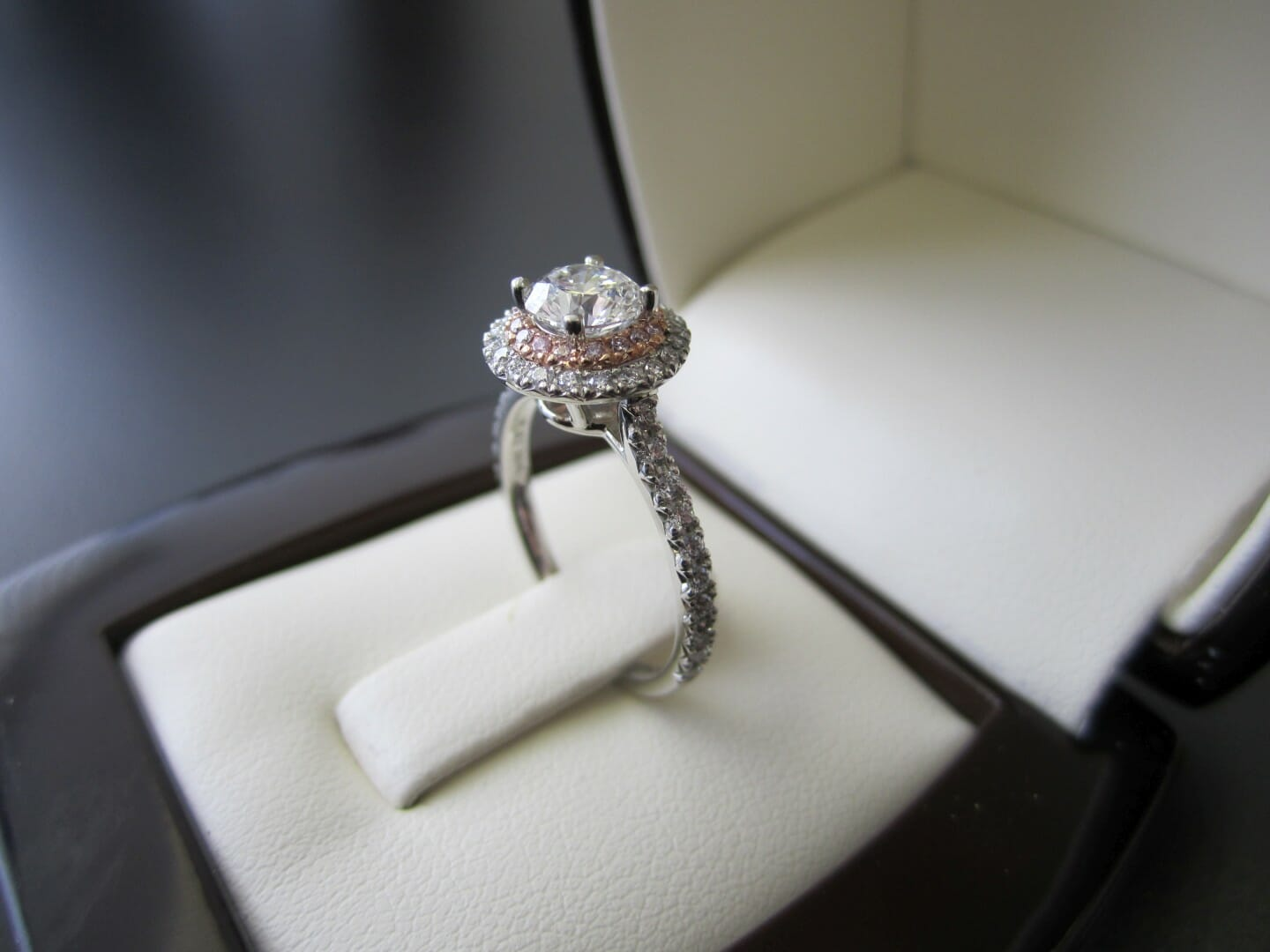Picture of 0.70ct Round Diamond in Platinum and 18K Rose Gold Double Halo Engagement Ring with French Micro Pave Setting