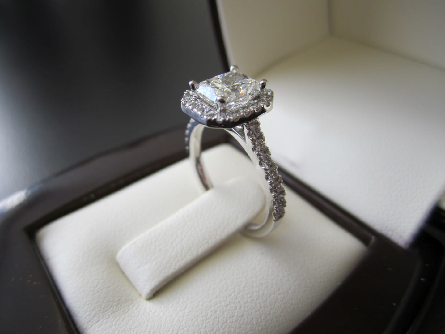 Picture of 1.25ct Radiant Diamond in a Micro Pave Halo Engagement Ring