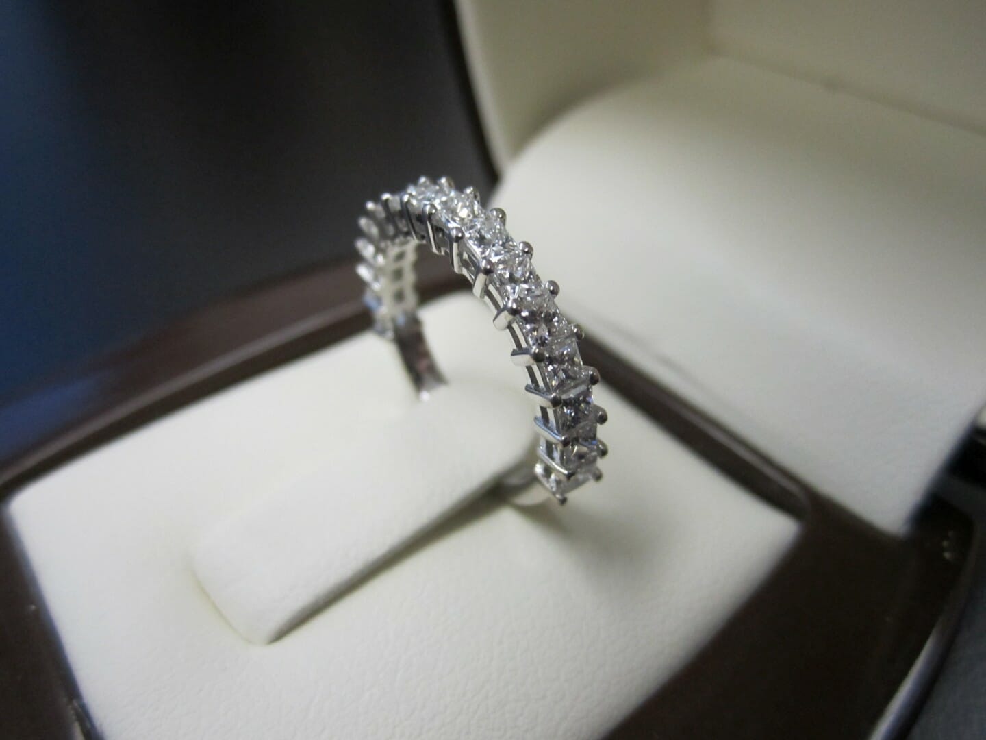 Picture of Custom Designed 19k White Gold Wedding Band with approx. 1.02ctw of Princess Cut Diamonds